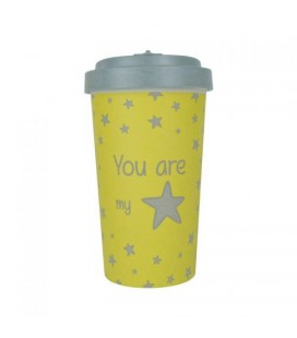 Kubek z bambusa, 500 ml, YOU ARE MY STAR purple, WoodWay
