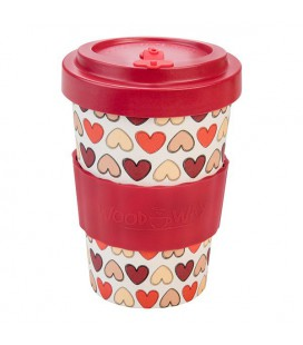 Kubek z bambusa, 400 ml, RETRO HEARTS red, WoodWay