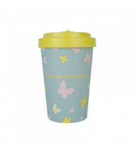 Kubek z bambusa, 400 ml, BUTTERFLIES yellow, WoodWay